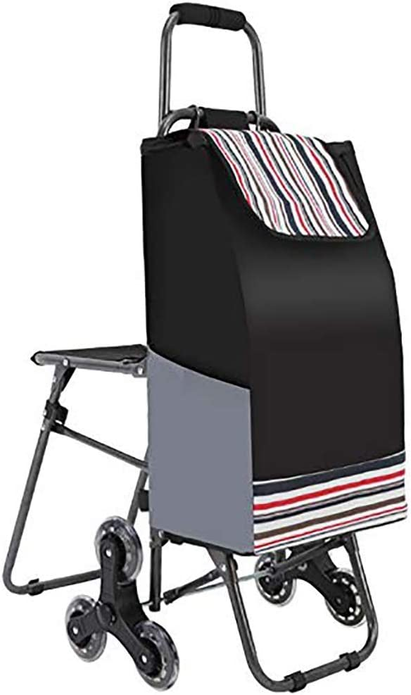CSS Trolley-Folding Shopping Trolleys Stair Climbing Cart,Outdoor Portable Foldable Grocery Carts 6 Pu Wheel Traction Trolley with Seat,Black