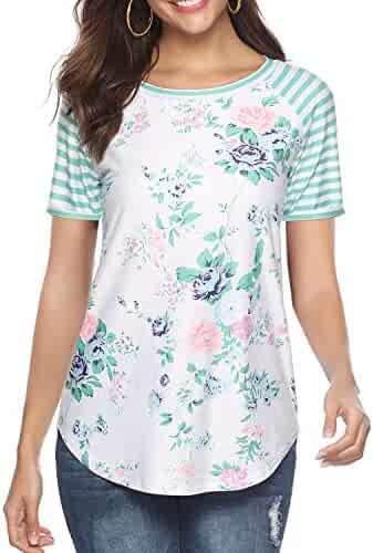 CEASIKERY Women's Blouse 3/4 Sleeve Floral Print T-Shirt Comfy Casual Tops for Women ((US 18-20) XX-Large, Short Sleeve Floral 014)