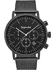 Gigandet Quarz Herren-Armbanduhr Minimalism III Dualzeit Uhr Datum Analog Milanaise Edelstahlarmband Schwarz G22-007