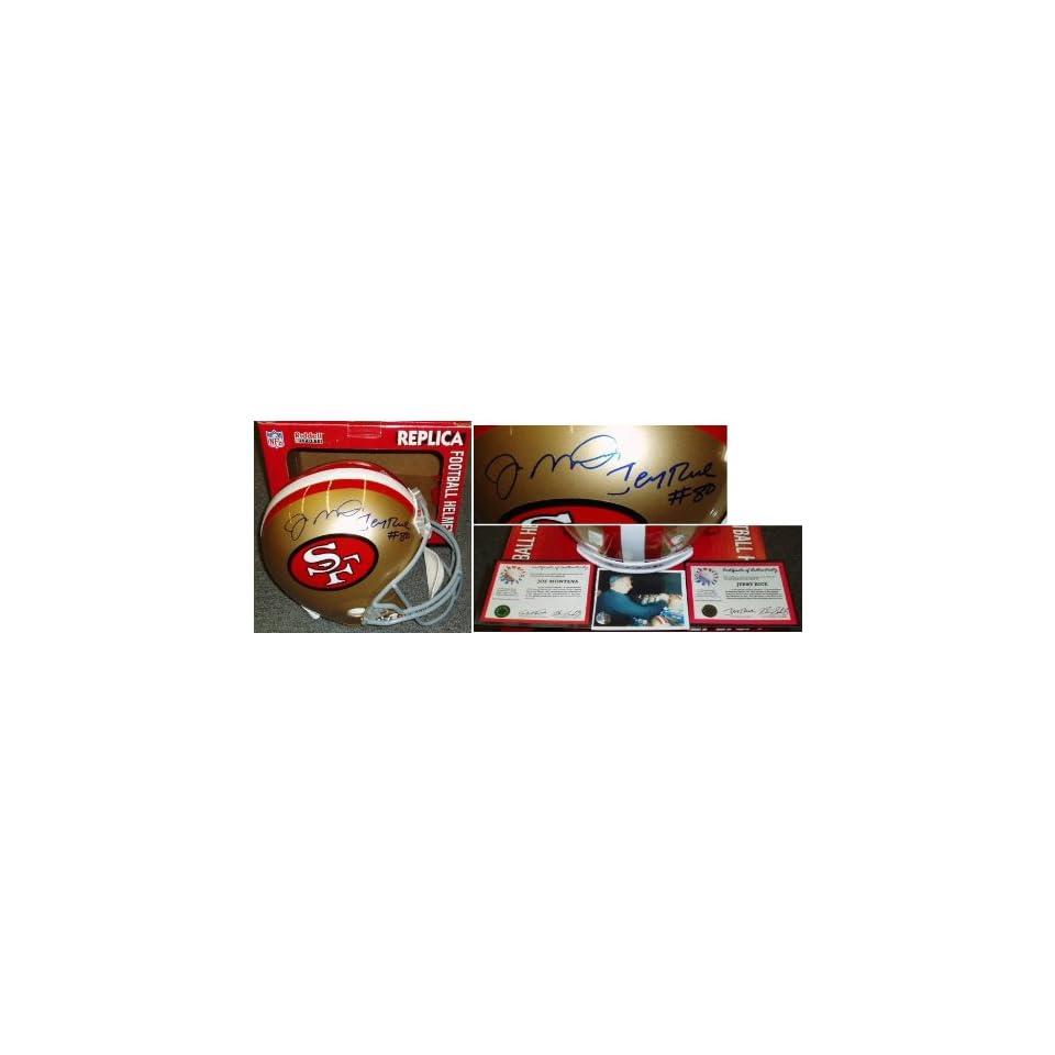 Joe Montana Jerry Rice Signed 49ers Rep Helmet