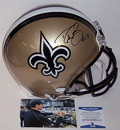 - Drew Brees - Autographed Official Full Size Riddell Authentic Proline Football Helmet - New Orleans Saints - BAS Beckett Authentication