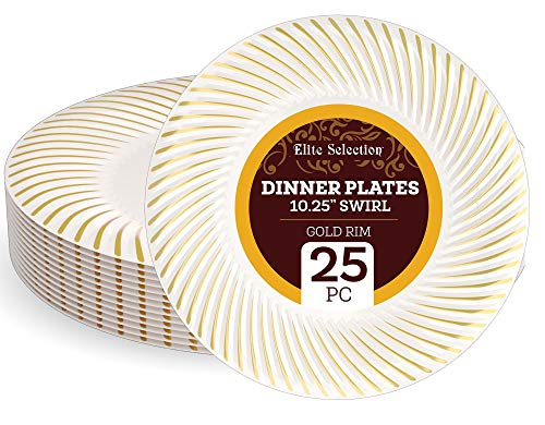 """Disposable Plastic Dinner Plates - 25 Pack 10.25"""" Cream Plate with Elegant Gold Swirl Rim Design for Wedding, Birthday, Dinner Party - by Elite Selection ()"""