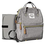 Wide Open Designer Baby Diaper Backpack by Moskka–Travel Bag, Nappy Tote Bag w/Stroller Straps, Changing Pad & Insulated Pocket for Mom & Dad -Grey