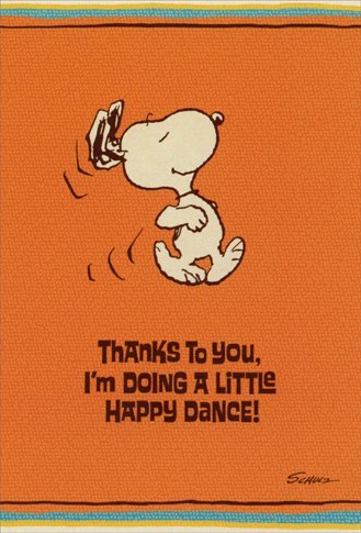 Snoopy Happy Dance - Sunrise Greetings Peanuts Thank You - You Thank Snoopy