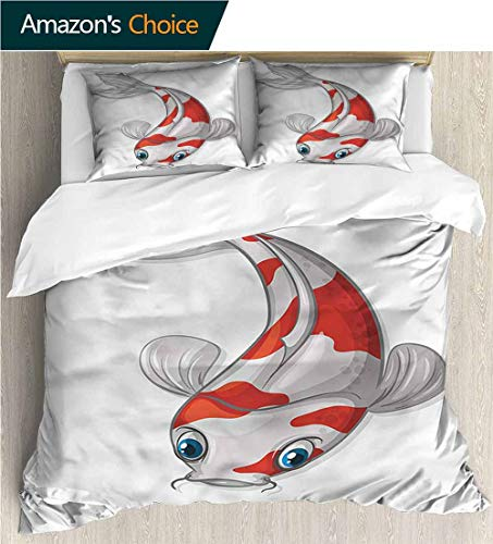 (Home 3 Piece Print Quilt Set,Box Stitched,Soft,Breathable,Hypoallergenic,Fade Resistant Patterned Technique King Quilt Set-Fish Grey and Red Koi Dipping (87