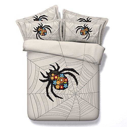 Newrara 3d Digital Bedding Chic Spider Web Print 4-Piece Duvet Cover Set (Queen, Beige)