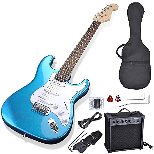 AW 39″ Full Size Electric Guitar Set for Beginners Starter with 10W AMP Gig Bag Strap Picks Blue