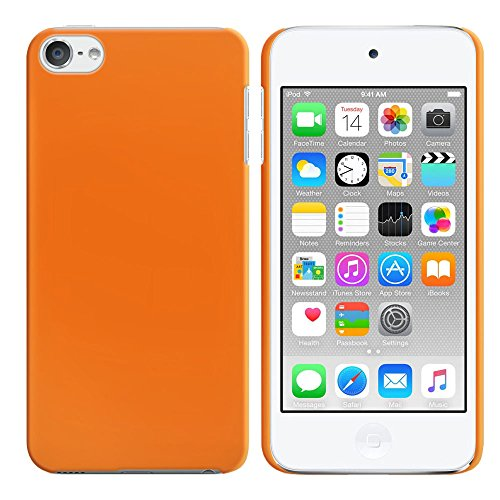 FINCIBO Case Compatible with Apple iPod Touch 5 6th Generation, Back Cover Hard Plastic Protector Case Stylish Design for iPod Touch 5 6 - Solid Neon Fluorescent Orange Color (Neon Ipod Cases)
