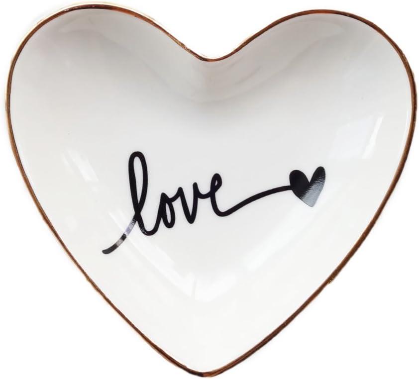 CHOOLD Original Ceramic Heart Shape Ring Dish Holder Jewelry Tray Dish Trinket Holder Jewelry Holder Home Decor Dish Wedding Birthday Xmas Gift