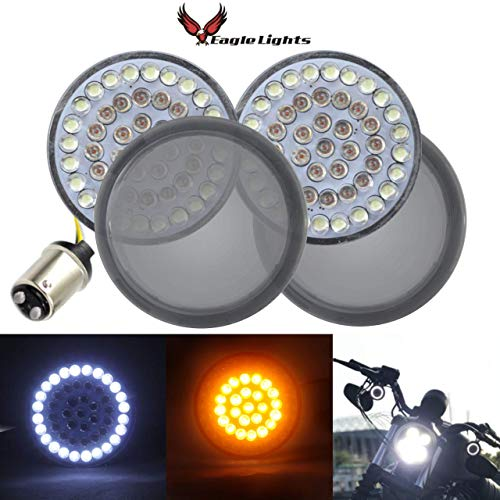 "Eagle Lights Harley 2"" LED Turn Signals w/Running Light Bullet Style Kit for Harley Davidson - (2) Front Turn Signals and (2) Smoked Lenses (Add Smoked Lenses)"