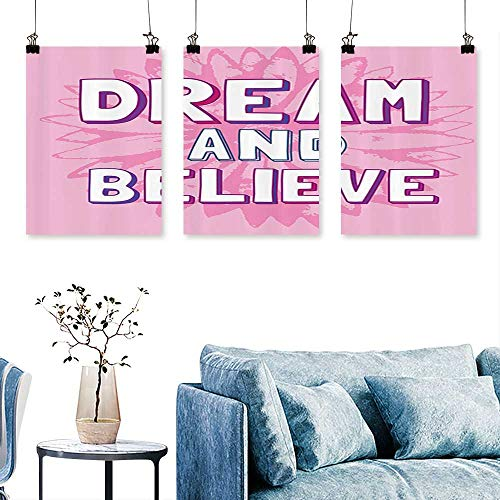 SCOCICI1588 3pcs Triptych Dream and Lieve quot Quote Floral al Background Motivatial Print On Canvas No Frame 30 INCH X 47 INCH X 3PCS