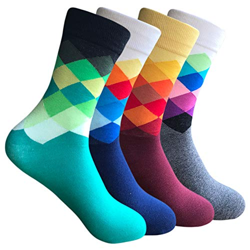 Mens Colorful High Dress Socks - Yoicy 4 Pack Argyle Rainbow Patterned Crazy Funny Casual Long High Fun Socks
