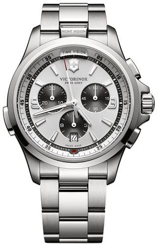 Victorinox 241728 Swiss Army Men's Night Vision Swiss Watch, Silver Stainless Steel Band , - Night Army Vision Swiss