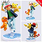 Pokemon Action Figure Toy Nendoroid Ash Ketchum Pikachu Charmander Action Figure Pokemon Anime Collectible Model