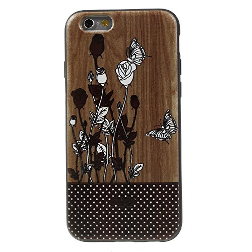 XINCUCO Embossed Pattern Acrylic Hard Tasche Hüllen Schutzhülle Case für iPhone 6s Plus/6 Plus - Butterfly and Rose