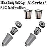 Keurig My K-cup 2 pack with 2 EXTRA Mesh Filters K10 K45 K55 K65 K75 Platinum Plus