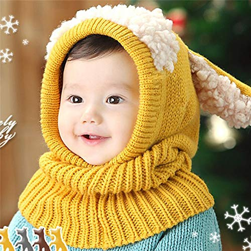 62aba3d13cc Image Unavailable. Image not available for. Colour  1 PC Cute Baby Rabbit  Ears Knitted Hat Infant Toddler Winter ...