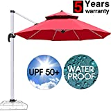 Patiassy Heavy Duty Windproof Patio Outdoor Umbrella, Heavy Duty 11 Feet Waterpoof Double Top Hanging Umbrella, 5 Years No Fading Top + No Rust Aluminum Frame for Garden, Backyard and Pool (Red)