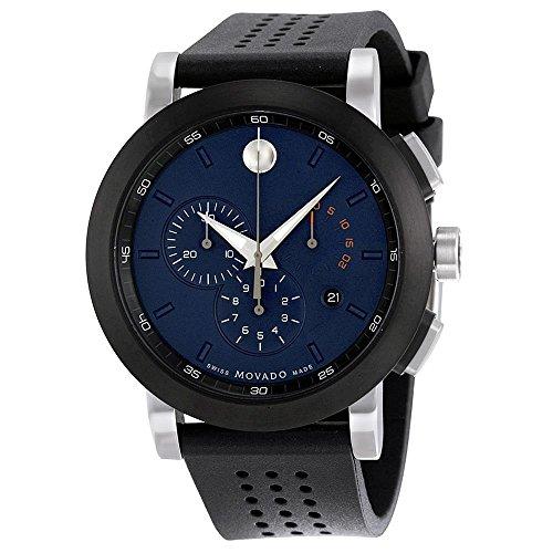 Men's Museum 44mm Black Rubber Band Steel Case Swiss Quartz Blue Dial Chronograph Watch - Movado 0607003
