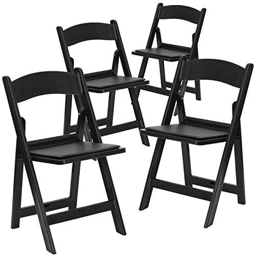 Flash Furniture 4 Pk. HERCULES Series 1000 lb. Capacity Black Resin Folding Chair with Black Vinyl Padded Seat by Flash Furniture