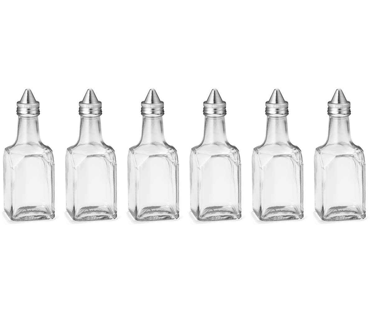 (6 Pack) 6 oz Salad Olive Oil and Vinegar Dispenser, Square Glass Cruet with Stainless Steel Pourer