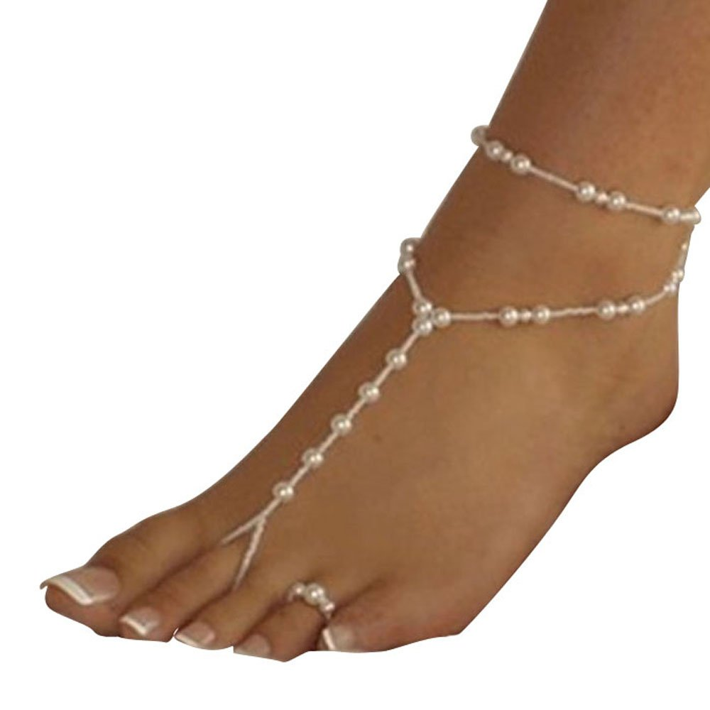 Tenworld Womens Girls Beach Imitation Pearl Barefoot Sandal Foot Jewelry Anklet Chain Tenworld-0005555