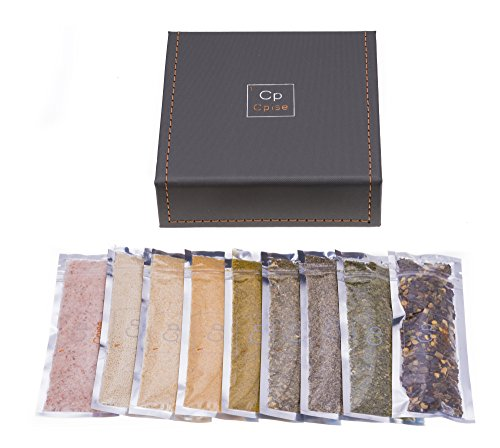 Organic 9 Spice Starter Gift Set with Box, Magnetic Tins + 9 Organic Spices (#1: Essential Spice Kit: Pink Salt, Garlic, Onion, Italian Blend, Lemon Pepper, Red Chili Flakes, Parsley, Honey Crystals)