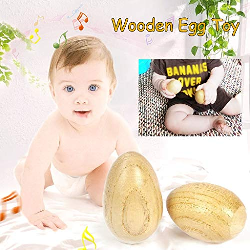 Kabi 6Pcs Wooden Shaker Eggs Musical Maracas Egg Shaker Percussion Instrument Toys for Kids