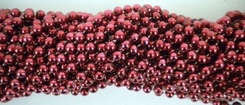33 inch 07mm Round Metallic Burgundy Mardi Gras Beads - 6 Dozen (72 necklaces)]()