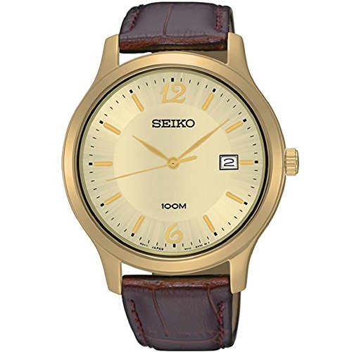 tainless Steel Brown Leather Strap Band Gold Dial Watch by Seiko Watches (Seiko Ladies Watch Champagne Dial)