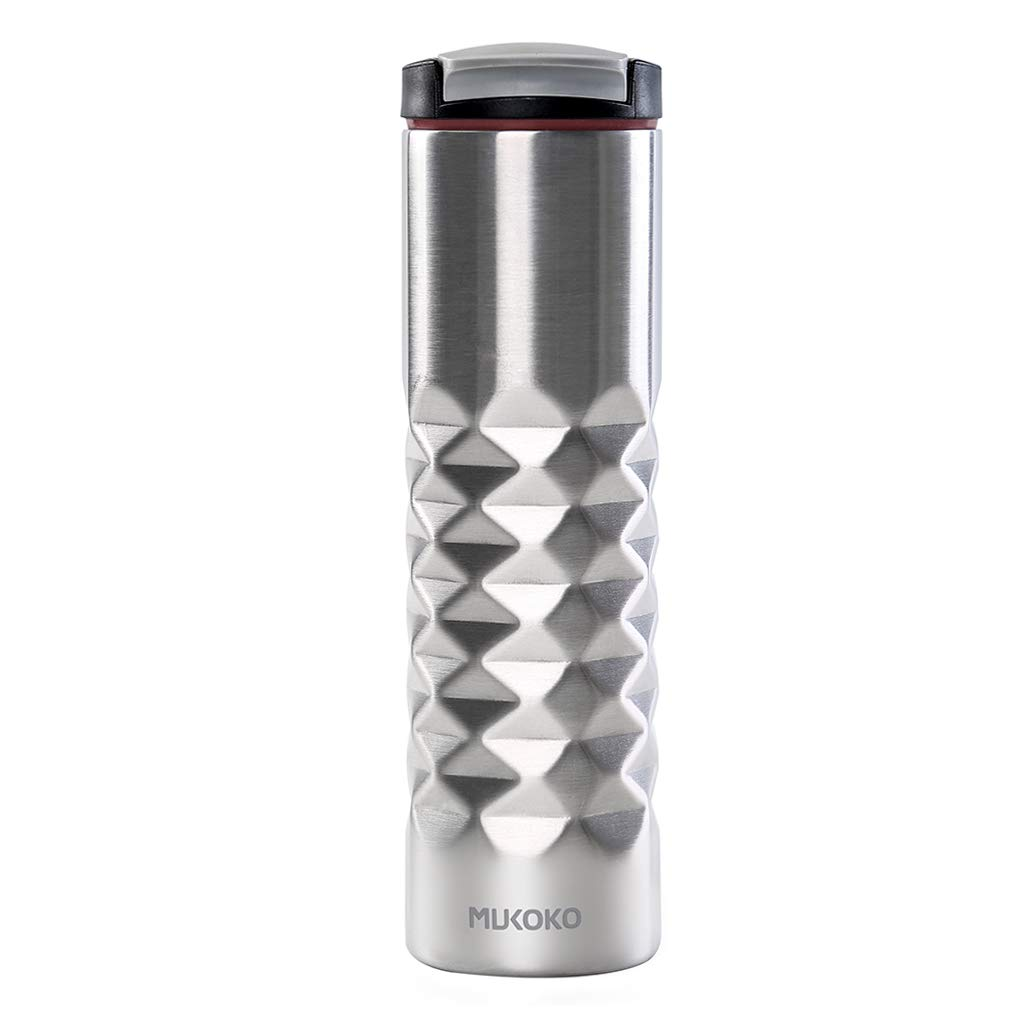 MUKOKO 20OZ Stainless Steel Vacuum Insulated Sports Water Bottle SnapSeal Kenton Travel Thermos Mugs Cup,Silver