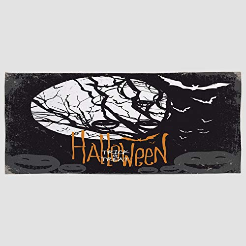 iPrint Cotton Microfiber Hand Towel [ Vintage Halloween,Halloween Themed Image with Full Moon and Jack o Lanterns on a Tree Decorative,Black White ] for Hotel SPA Beach Pool Bath