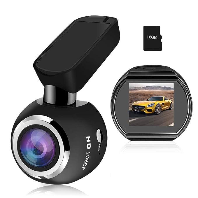 Mini Cámara de Coche Wifi Dashcam HQBKING 1080P video camara para coche con Lente de gran ángulo de 170 ° Pantalla LCD de 1.5 in y diseño discreto con 360 ...