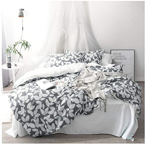 - Eikei Home Modern Geo Leaf Print Cotton Quilt Duvet Cover Navy Light Blue Reversible Geometric Floral Leaves Outline Pattern Bedding Set Minimalist Garden Bloom Design (King, Grey)
