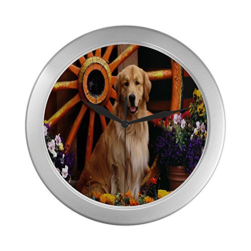 Golden Retriever's Country Scene Decorative Wall  Clock