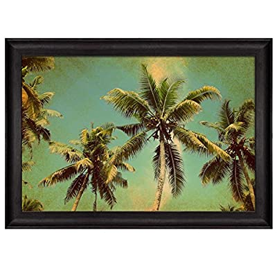 Alluring Handicraft, Made With Top Quality, View from Below to Tall Palm Trees with a Vintage Texture Nature Framed Art