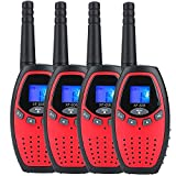Walkie Talkies for Kids x 4 Mksutary Two Way Radio 3KM/1.9MI Range (MAX 5KM/3.1MI) Outdoor Toys for Boys Girls Activity with Long Distance Range(Red)