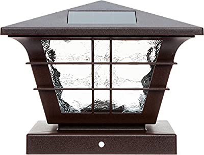 """GreenLighting 5x5 Solar Powered Post Cap Light with 4x4 Base Adapter, Fits 5"""" and 4"""" PVC Posts"""