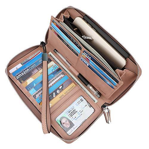 (Lavemi Women's RFID Blocking Real Leather Zip Around Wallet Clutch Large Travel Purse Wristlet(Large Size Vintage Dark Pink))