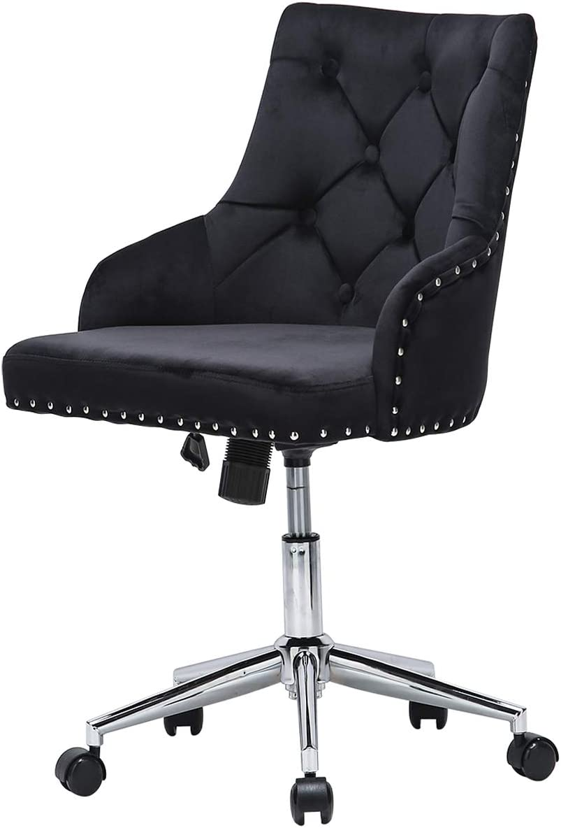 Cute Tufted Velvet Computer Desk Chairs Swivel Adjustable Nailhead Trim Home Office Chair Executive Chair w/Soft Seat Accent Vanity Chair