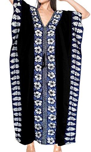 LA LEELA PV Solid Long Caftan Resort Dress Women Black_4093 OSFM 14-28W [L-4X] by LA LEELA