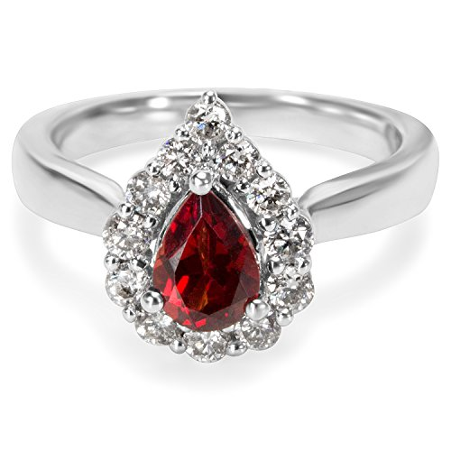 BRAND NEW Diamond & Garnet Pear Ring in 14k White Gold (0.60 CTW) by Loved Luxuries