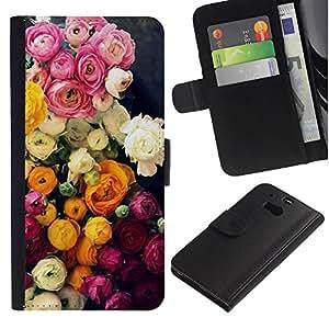 HTC One M8 Modelo colorido cuero carpeta tirón caso cubierta piel Holster Funda protección - Bouquet Pink White