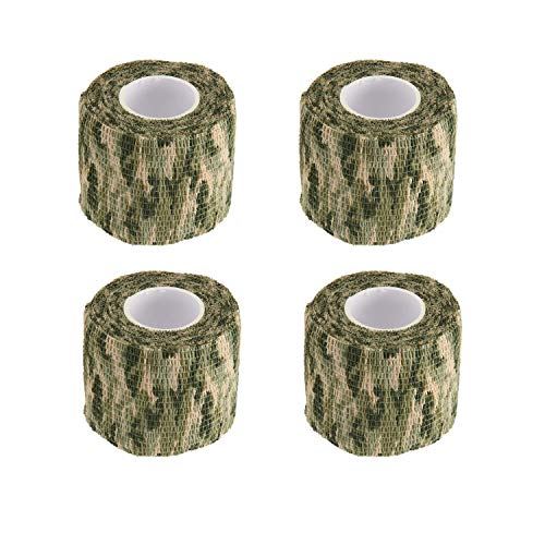 Wrap Military (BOROLA Self-Adhesive Protective Camouflage Tape Cling Scope Wrap Military Camo Stretch Bandage for Gun Rifle Shotgun Camping Hunting (4Pcs, Woodland Camo)