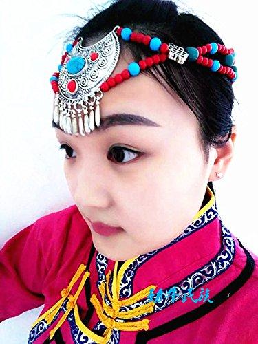 usongs Tibetan silver alloy jewelry beaded headdress women girls Mongolian dance performance Children headdress hair accessories National Wind ()