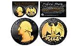 1964 2-Sided BLACK RUTHENIUM & Genuine 24KT Gold Genuine Silver US QUARTER Coin