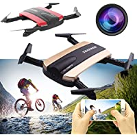 Hanbaili Quadcopter for Kids & Beginners, (gold)UAV Foldable 2.4Ghz WiFi Remote Control Video Camera 4Axis Quadcopter Drone