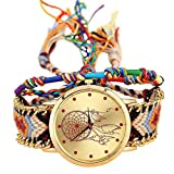 SODIAL Handmade Braided Dreamcatcher Friendship Bracelet Watch Rope Watch Ladies Quartz Watches-color 4