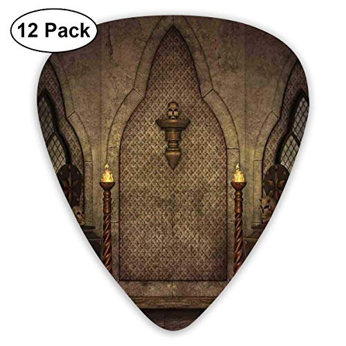 Guitar Picks 12-Pack,Fantasy Scene With Old Fashioned Wooden Torch And Skull Candlesticks In Dark Spooky Room