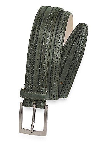 Paul Fredrick Men's Kane Leather Belt Green 36